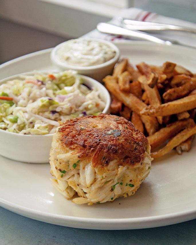Jumbo lump crab cake with coleslaw and fries